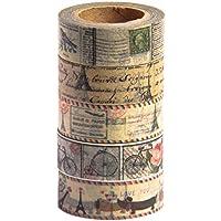MIKOKA ブランド マスキングテープ(和紙テープ) 10 m 5巻セット アンティーク ブライト♪