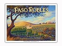 パソロブレス・ワイナリー - サンルイスオビスポ - セントラルコーストAVAブドウ園 - カリフォルニアワインカントリーアート によって作成された カーン・エリクソン - アートポスター - 23cm x 31cm