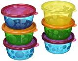 The First Years Sava Semi Disposbale Bowls With Lids (8 oz / 237 ml) (Colours May Vary) (Pack of 6)