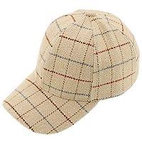 タータンチェックの野球帽、女性調節可能な冬の熱アウトドアスポーツバイザー キャップ(56〜60センチメートル),Beige