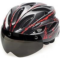 TOPTOTN 自転車 ヘルメット 大人用超軽量一体型EPS高剛性通気 サイズ調整可能レンズ付き自転車ヘルメット 5色