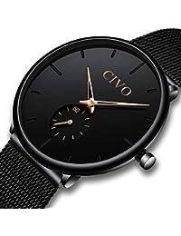 [チーヴォ]CIVO 腕時計薄型 メンズ時計ブラック アナログクオーツメッシュ防水ウオッチ シンプルデザイン ステンレススチール おしゃれ ファッション ビジネス カジュアル男性腕時計