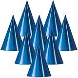 クラブパックof 48ブルーFun and Festive Party Foil Cone Hats 6.75