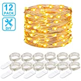 Govee 12 Packs Fairy String Lights, 1m 20 LEDs Battery Operated Jar Lights Bedroom Patio Wedding Party Christmas (Warm White)