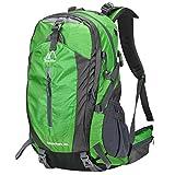 Terra Hiker 登山リュック 40L 大容量 防撥水 登山バッグ 軽量 リュックサック アウトドアザック 旅行 ハイキング クライミング キャンプ 防災 トレッキング バックパック レインカバー付き サスペンションシステム(グリーン)