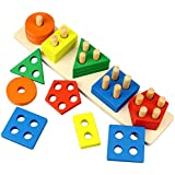 Dreampark Wooden Educational Toys, Wooden Shape Color Sorting Preschool Stacking Blocks Toddler Puzzles Toys Birthday Gifts for Boys and Girls Age 1 2 3