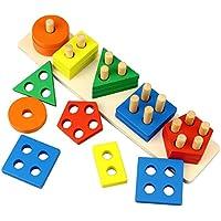 Dreampark木製教育玩具、木製シェイプカラーSorting Preschool Stacking Blocks幼児用パズルおもちゃ誕生日ギフトfor Boys and Girls Age 1 2 3