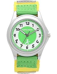 [アンペルマン]AMPELMANN キッズ 腕時計 日本製ムーブメント ラウンドフェイス 反射板(リフレクター) 付 ライムグリーン・ホワイト × ライムグリーン・イエロー AMA-2035-12 ガールズ 【正規輸入品】