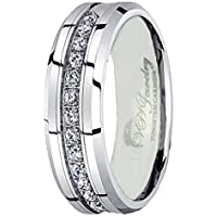 VPKJewelry Tungsten Carbide Silver 13 CZ Men Women Wedding Engagement Comfort Fit Band 8 6 mm Ring