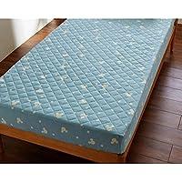 Disney ディズニー 綿100%ソフトパイルのボックスシーツ型敷きパッド ミッキーマウス ブルー サイズ:シングル