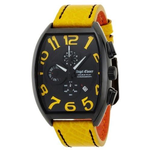[エンジェルクローバー]Angel Clover 腕時計 ダブルプレイ ブラック/イエロー文字盤 ステンレス(BKPVD)ケース カーフ革ベルト デイト クロノグラフ DP38BYEYE メンズ