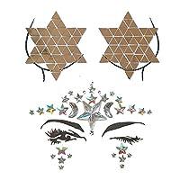 ZEVONDA ファッションオーナメントクリスタルステッカー-一時的なダイヤモンドフェイスジュエリータトゥーステッカー, 1