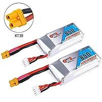 2本 GAONENG 650mAh リポ バッテリー 3S 11.1V 80C XT30プラグコネクター 充電式バッテリー FPVレーシングドローンRCクアドコプター用 …