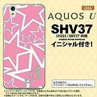 SHV37 スマホケース AQUOS U ケース アクオス ユー イニシャル 星 ピンク×白 nk-shv37-1118ini E