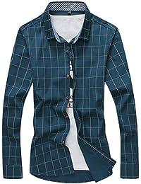 [スゴフィ]SGFY ドレスシャツ メンズ 長袖 スリム ビジネス カジュアル シンプル おしゃれ 襟付き カッターシャツ フィット チェック柄 (L, ダークグリーン)