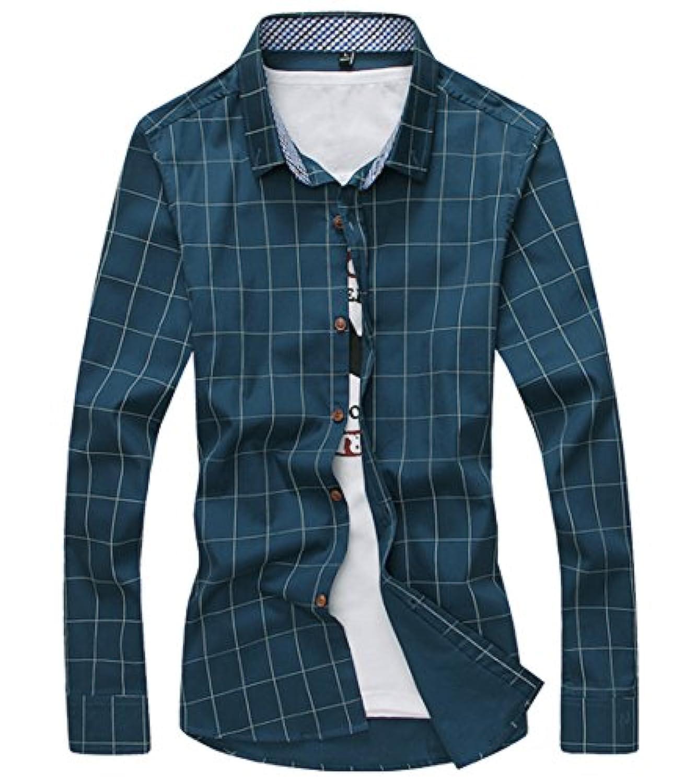 [スゴフィ]SGFY ドレスシャツ メンズ 長袖 スリム ビジネス カジュアル シンプル おしゃれ 襟付き カッターシャツ フィット チェック柄 (XL, ダークグリーン)