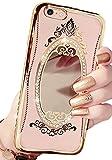 (ポルトプエルト) iPhone アイフォン ケース カバー 鏡 ミラー プリンセス デコ リボン シリコン バンパー ラインストーン ゴールド ローズゴールド キラキラ かわいい キュート (iPhone 7, ゴールド)