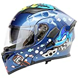 TUDB ホオジロザメマリンパターンABS多機能ブルートゥースアダルトサイクリング電気自動車オートバイヘルメットサイクリングマウンテンバイク安全ヘルメットアウトドアサイクリング機器 (Size : L)