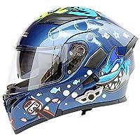 ZJH ホオジロザメマリンパターンABS多機能ブルートゥースアダルトサイクリング電気自動車オートバイヘルメットサイクリングマウンテンバイク安全ヘルメットアウトドアサイクリング機器 ZJH (Size : M)