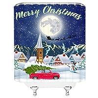メリークリスマスシャワーカーテンレッドピックアップトラックキャリークリスマスツリー雪だるま雪に覆われた屋根サンタクロースとそりトナカイムーン冬景色ファブリックバスルームインテリアセットフック付きホワイトブルー 200X180 CM