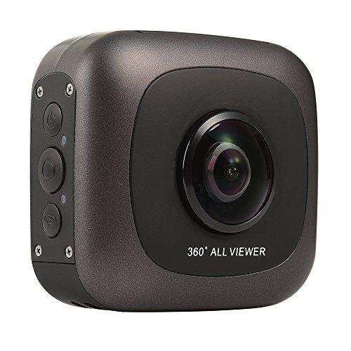 OKAA 360°全天球カメラ SDカード変更可 IPX4防水 ホルダー付属 ブラック JP001