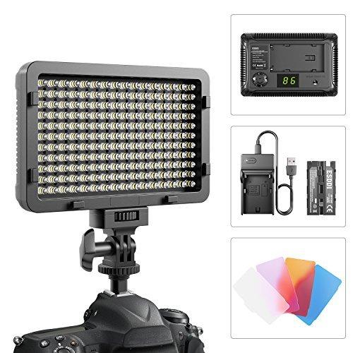 LEDビデオライト ESDDI 176 LED 超高輝度 調光機能付きカメラパネルライト バッテリーとUSBケーブル付き キヤノン ニコン ペンタックス パナソニック ソニック ソニー サムスン オリンパス 全デジタル一眼レフカメラ用
