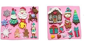 ≪2枚セット≫ クリスマス いろいろ シリコン モールド お菓子 キャンドル 石鹸 手作り レジン  【Ever garden】 (③)