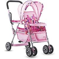 Joovy Toy Doll ドール Caboose Tandem Stroller - Pink Dot [並行輸入品]