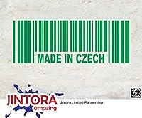JINTORA ステッカー/カーステッカー - Made in Czech Barcode Prag - チェコのバーコードのプラカードで作られた - 190x70mm - JDM/Die cut - 車/ウィンドウ/ラップトップ/ウィンドウ- グリーン