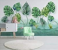 Minyose カスタム壁紙壁画北欧のミニマリストの小さな新鮮な緑の葉の水彩風の背景の壁の3D壁紙-350cmx245cm
