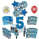 Mayflower Products ソニック?ザ?ヘッジホッグ 5歳の誕生日パーティー用品 8人のゲスト用デコレーションキットとバルーンブーケ