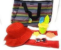 Kids Brimmed Sun Hat (レッド)、ビーチタオルストライプレッド、おもちゃ砂バケット、サングラス、プラスチックメッシュビーチバッグ5-pieceバンドル
