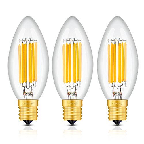 TAMAYKIM LED電球 フィラメント 6W E17口金 電球色(3000K) 60W形相当 C35 シャンデリア電球 蝋燭水雷型 全方向タイプ 調光器非対応 3個入