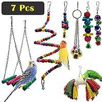 7個の鳥のオウムのおもちゃ、バードチューイングスイングぶら下げ玩具鳥かごのおもちゃ、コニュアーズ、オカメインコ、バギーと愛の鳥のような小さな中型の鳥のための木製のはしごハンモック