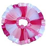 キッズTUTU カラーチュチュ スカート 子供ドレスのアンダースカート レインボーのようなチュチュ スカート ミニ キッズ hiphop ダンス 衣装 結婚式 発表会 (ピンク)