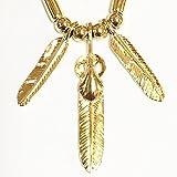 豪華 圧巻のゴールド使い 今市隆二着用タイプ ゴールド トリプル フェザー ネックレス JSB 三代目 EXILE好きに(オールゴールド)