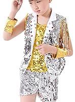 (コ-ランド)Co-land ダンスウェア ステージ衣装 キッズ 子供服 女の子 男の子 スパンコール Tシャツ ヒップホップ 演出服 イエロー ボーイズ 130