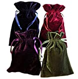 Tarot Rune Bag Bundle of 4 - One of Each Colour : Moss Green, Navy Blue, Purple, Wine 10cm by 15cm Velvet Bags