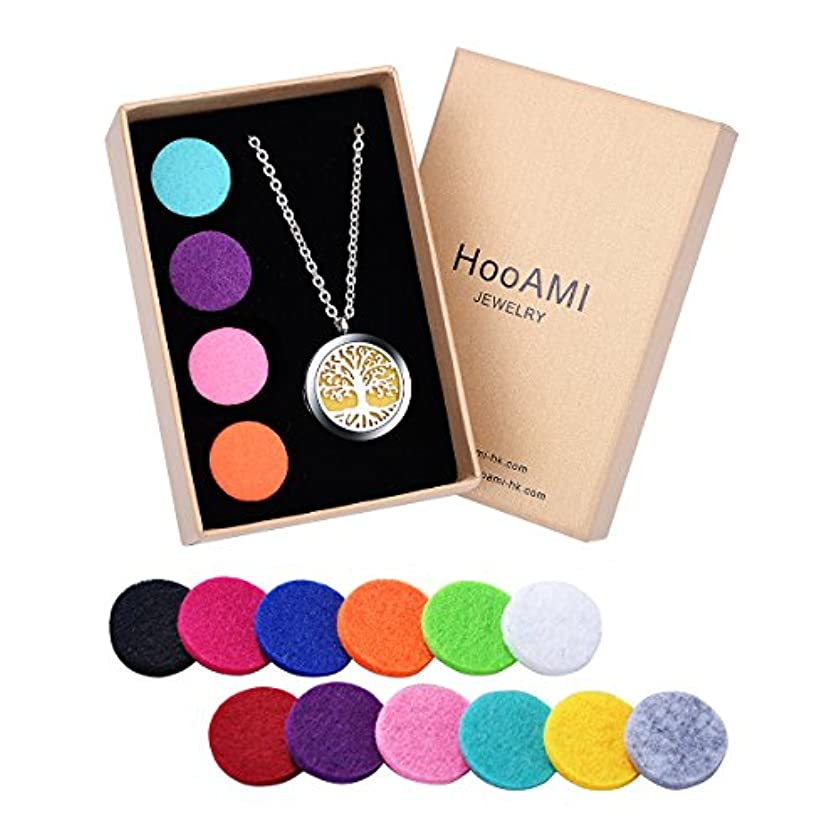 HooAMI Aromatherapy Essential Oil Diffuserネックレス – ステンレススチールツリーの生活ロケットペンダント、24インチチェーンと12 Refill Pads BETY123856