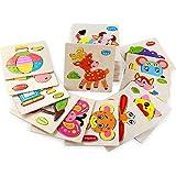 OBEST 木製 パズル 知育玩具 子供 幼児教育 プレゼント 知恵おもちゃ 英会話 図形 動物 右脳訓練 入園祝い 贈り物 4点セット