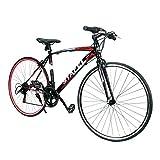 クロスバイク 自転車 700*23C シマノ製14段変速 超軽量高炭素鋼フレーム 前後キャリパーブレーキ ワイヤ錠・ライトのプレゼント付き マウンテンバイク ブラック*レッド 02BKRD