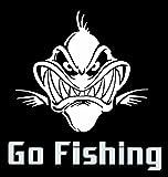 アウトドア用品 【オルルド釣具】フィッシングステッカー 「 Go Fishing! 巨大な肉食魚 16×16cm 」 貼付用ヘラ付 クーラーボックス・車などのドレスアップに最適 釣りステッカー カーステッカー デカール シール 魚 ロゴ 文字 外装 デザイン モノクロ (ホワイト) qb600001a01