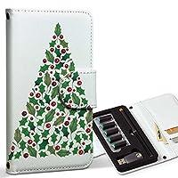 スマコレ ploom TECH プルームテック 専用 レザーケース 手帳型 タバコ ケース カバー 合皮 ケース カバー 収納 プルームケース デザイン 革 クリスマス ツリー 014425