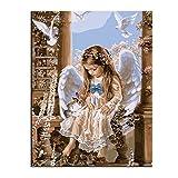 WONZOM 油絵 数字キットによる絵画 塗り絵 大人 手塗り DIY絵 デジタル油絵 40x50センチ 天使 (フレームレス)