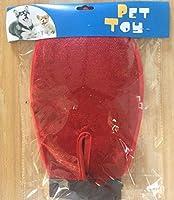 猫と犬のお風呂ペットクリーニングヘアケアツールと両側にペット用品手袋,red
