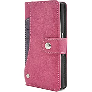 PLATA Xperia Compact SO-02J ケース 手帳型 スライド カード ポケット ソフト レザー ケース カバー 【 ビビッドピンク pink 桃 ピンク 】 DSO02J-97VP