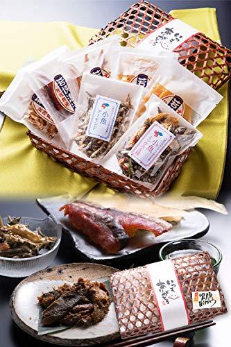 敬老の日 おつまみ 7種 竹かご のどぐろ 珍味 おつまみセット 小袋 人気 詰め合わせ 【通常便】 えいひれ スルメ 海鮮 手土産 プレゼント ギフト 越前宝や