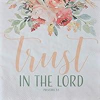 パーチメントの真珠 聖書 ペーパーナプキン - ブラッシュフローラル水彩ブーケ Trust in The Lord 聖書の節 宗教的なナプキンパッケージ - 20枚 3層