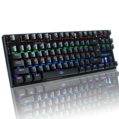 VENKIM ゲーミングキーボード メカニカルキーボード 青軸 87 キー ...
