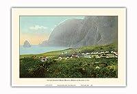 Damien父 自宅 - モロカイ、ハワイ - Kalaupapa ハンセン病 決済 - ビンテージなハワイアンカラーのハガキ c.1910 - アートポスター - 33cm x 48cm